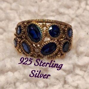 Boho 925 sterling silver ring w/ blue stones VTG 7
